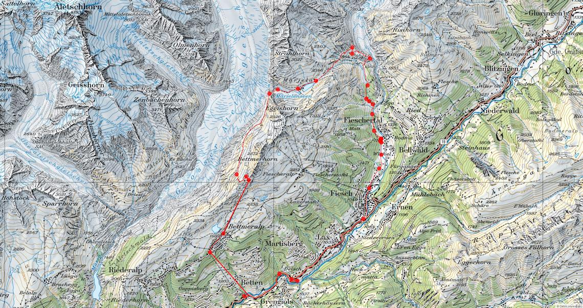 Karte Aletsch-Ride